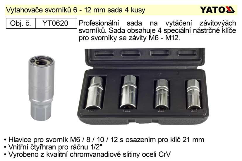 Vytahovač svorníků-šteftů sada 4 kusy 6-12 mm (YT-0620)