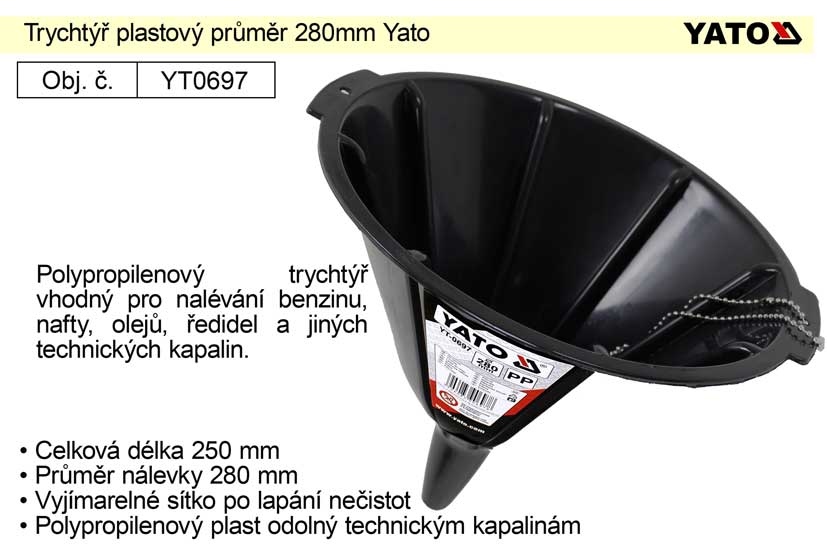 Trychtýř plastový průměr 280mm Yato