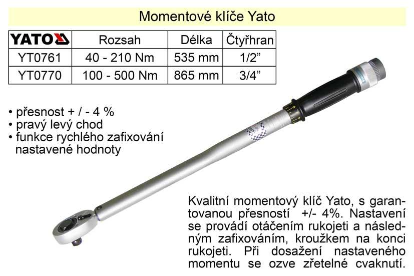 "Momentový klíč ohybový 100 - 500 Nm 3/4""  Yato"