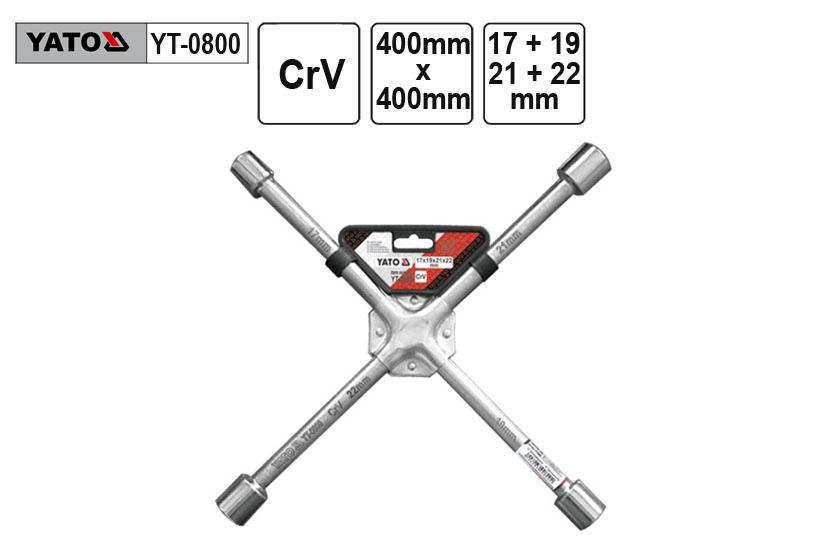 Klíč křížový na kola 17x19x21x22mm Yato