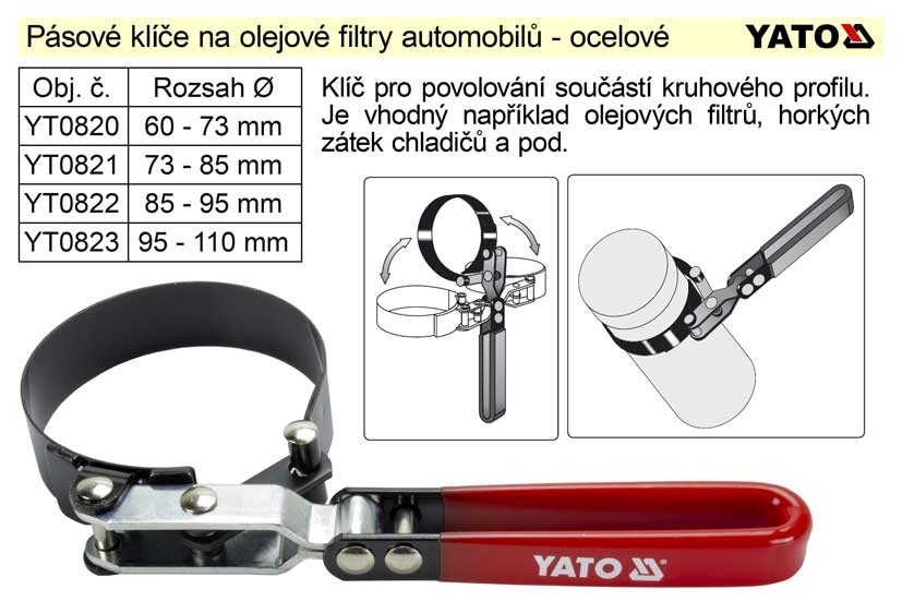 Pásový klíč na olejové filtry 73 -85 mm Yato