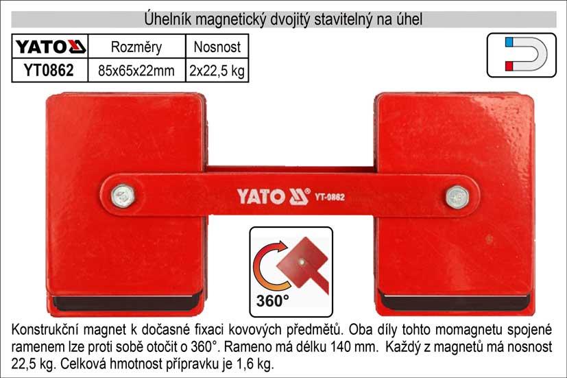 Úhelník magnetický   dvojitý stavitelný úhel 2 x 85x65x22mm