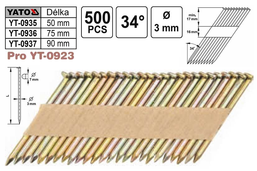 Hřebíky pro hřebíkovačku YT0923, YT0927 průměr 3mm délka 50mm