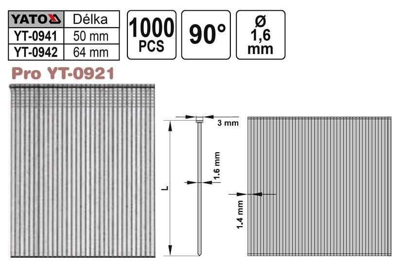 Hřebíky pro hřebíkovačku YT0921 průměr 1,6mm délka 64mm