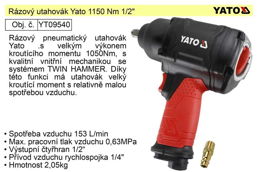 """Rázový utahovák Yato 1150 Nm 1/2""""  YT-09540"""