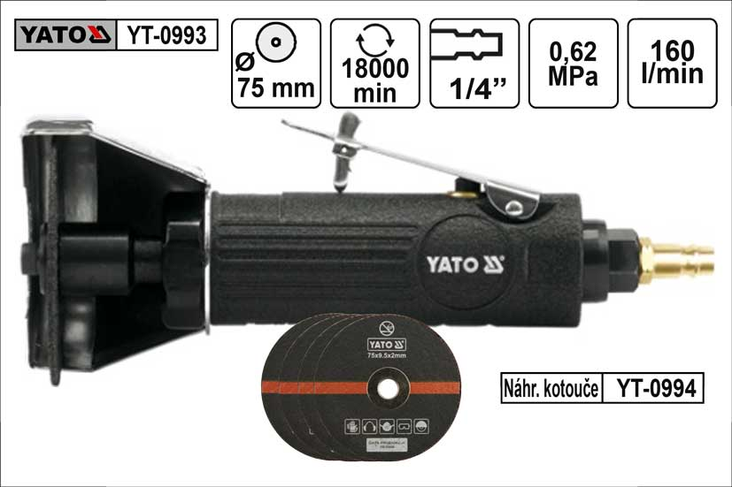 Bruska příčná Yato vzduchová průměr 75mm Nářadí | 0,876 Kg