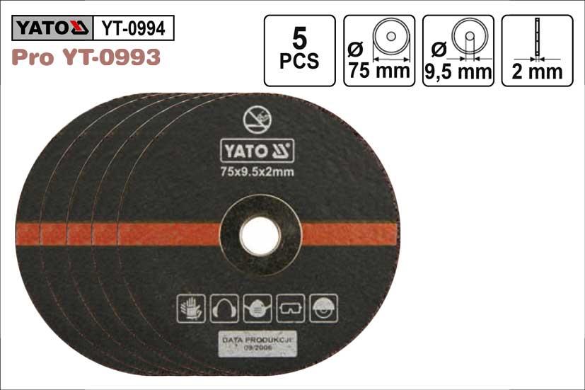 Kotouče řezné pro příčnou brusku průměr 75mm, sada 5 kusů YT0933