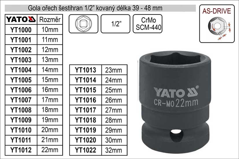 """Gola ořech šestihran 1/2"""" kovaný 26mm Nářadí 0.151Kg YT-1016"""