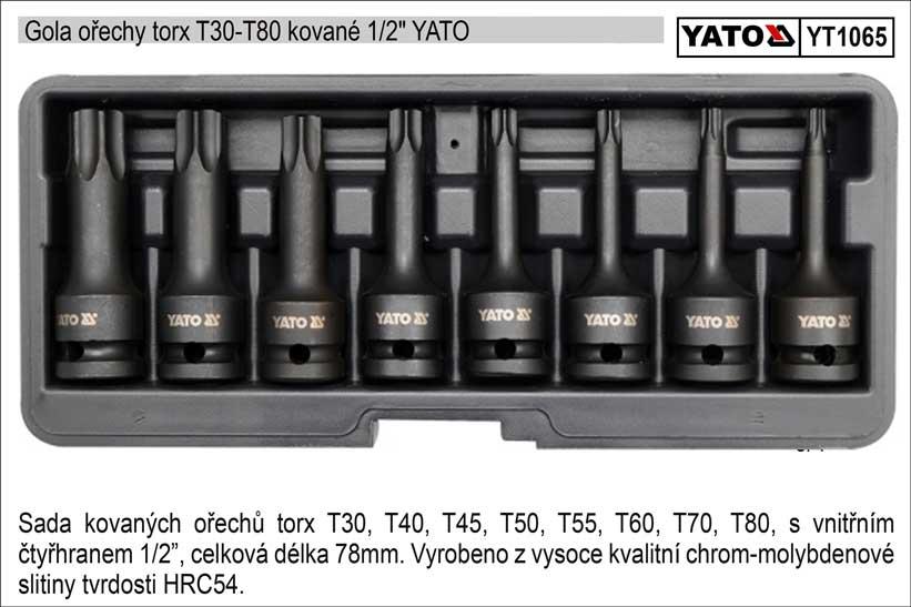 Zástrčné hlavice torx kované sada 8 kusů T30-T80 Yato