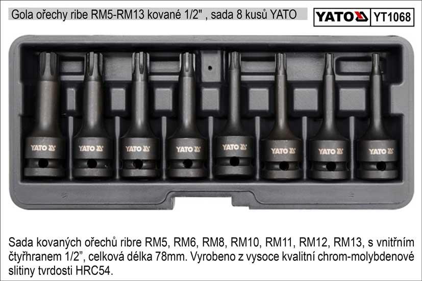 """Gola ořechy Ribe  RM5-RM13 kované 1/2"""" , sada 8 kusů YATO"""