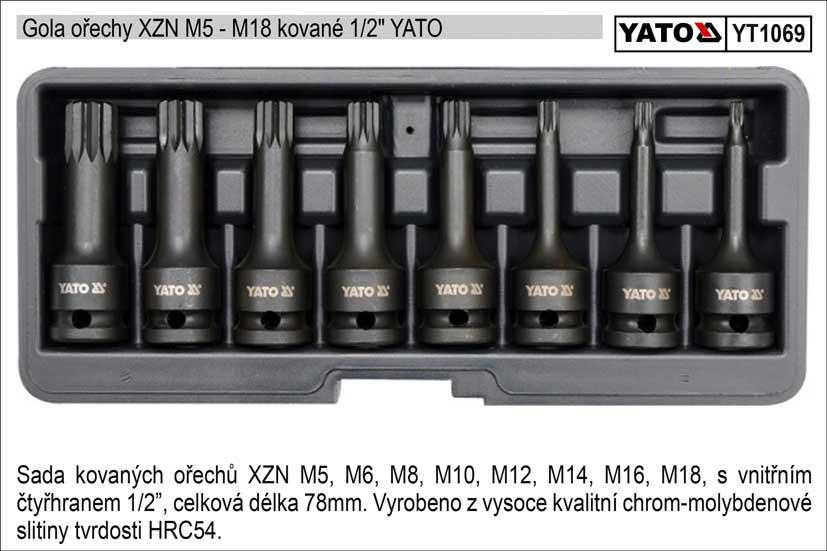 Zástrčné hlavice XZN sada 8 kusů kované M5-M18 Yato