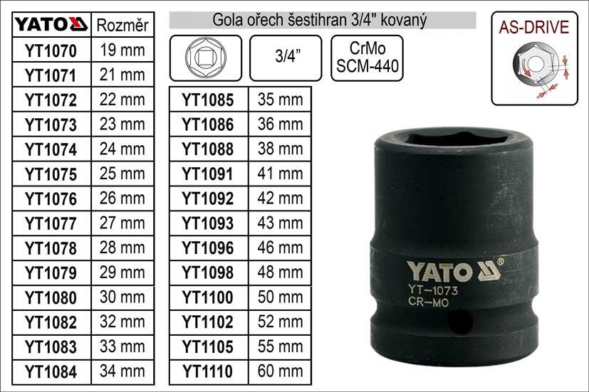"""Gola ořech šestihran 3/4"""" kovaný 23mm Nářadí 0.289Kg YT-1073"""