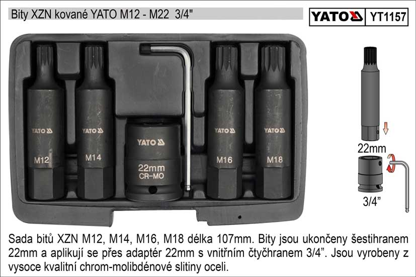 "Bity XZN kované sada 6 dílů YATO M12-M18 se stopkou 3/4"""