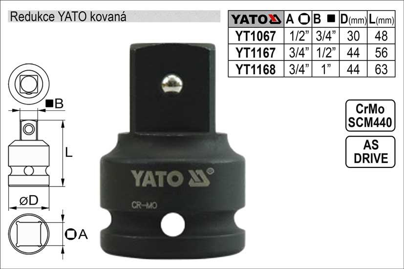 """Redukce YATO kovaná vnější čtyřhran  3/4""""- vnitřní čtyřhran 1/2"""""""