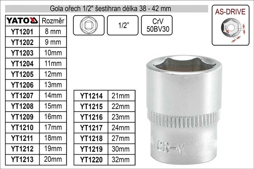 """Gola ořech šestihran 1/2""""   9mm Nářadí 0.054Kg YT-1202"""