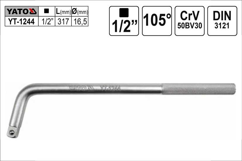 "Páka trhák zahnutý 105° 1/2"" délka 317mm"