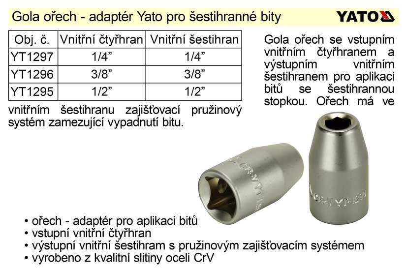 """Gola ořech 3/8"""", adaptér pro bity se šestihranem 8 mm Nářadí 0.038Kg YT-1296"""