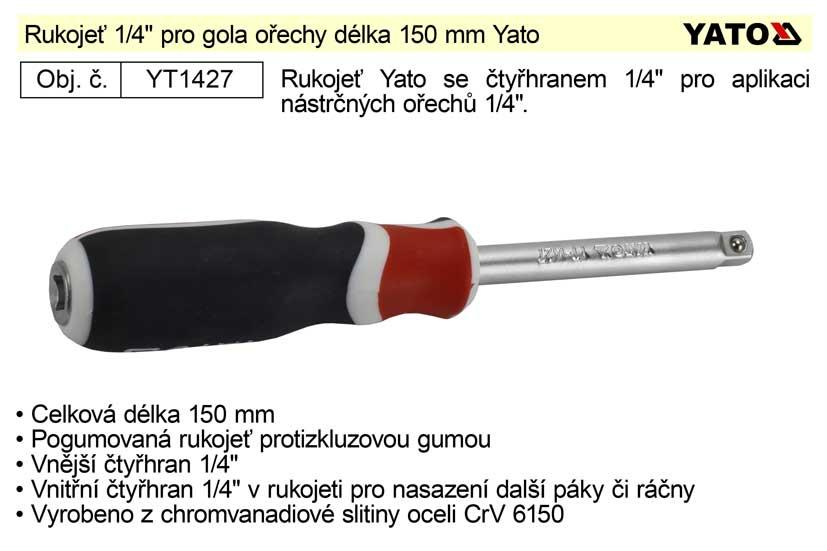 "Rukojeť 1/4"" pro gola ořechy délka 150 mm Yato"