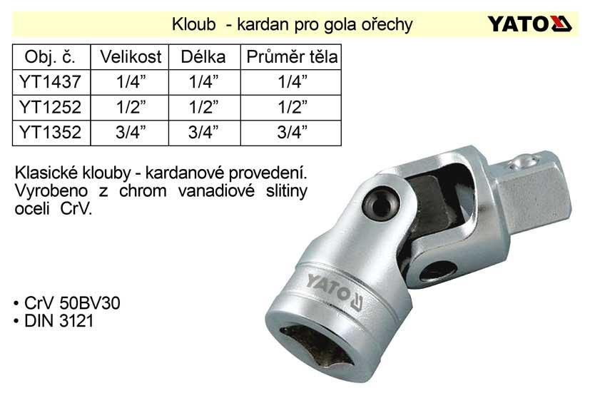 "Kloub - kardan  1/4"" pro gola ořechy Nářadí 0.029Kg YT-1437"