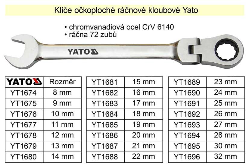 Ráčnový klíč  Yato kloubový 15mm