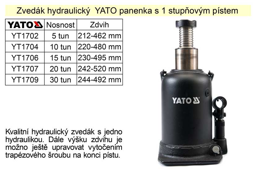 Zvedák hydraulický YATO panenka s 1 stupňovým pístem, 5 tun zdvih 468mm