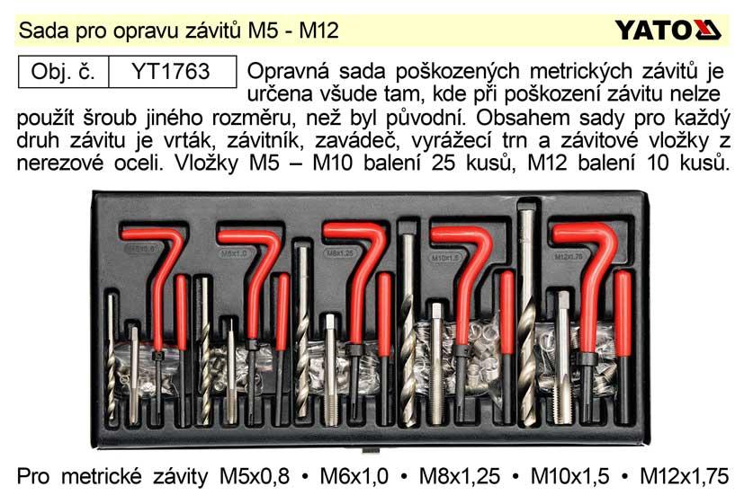 Sada pro opravu závitů M5 - M12 Yato