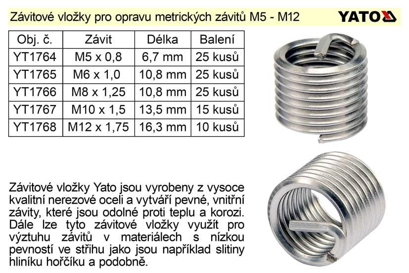 Závitová vložka M12 x 1,75 balení 10 kusů Nářadí 0.055Kg YT-1768