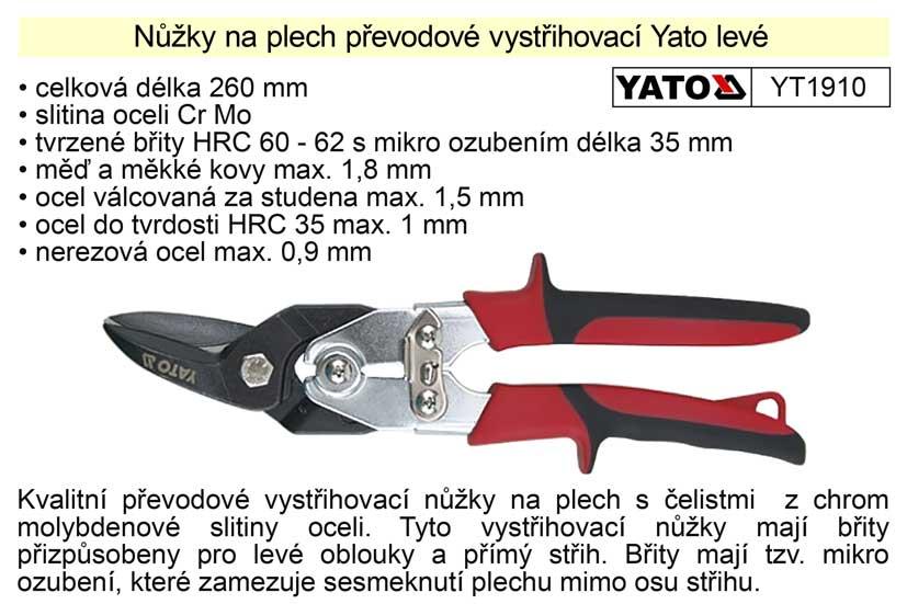 Nůžky na plech převodové  Yato levé 260 mm