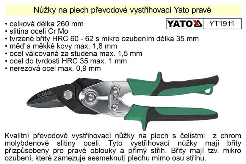 Nůžky na plech převodové  Yato pravé 260 mm Nářadí 0.611Kg YT-1911