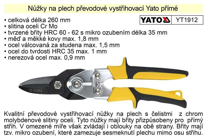 Nůžky na plech převodové  Yato přímé 260 mm