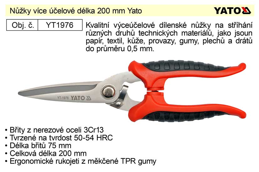 Nůžky více účelové délka 200 mm Yato Nářadí 0.174Kg YT-1976