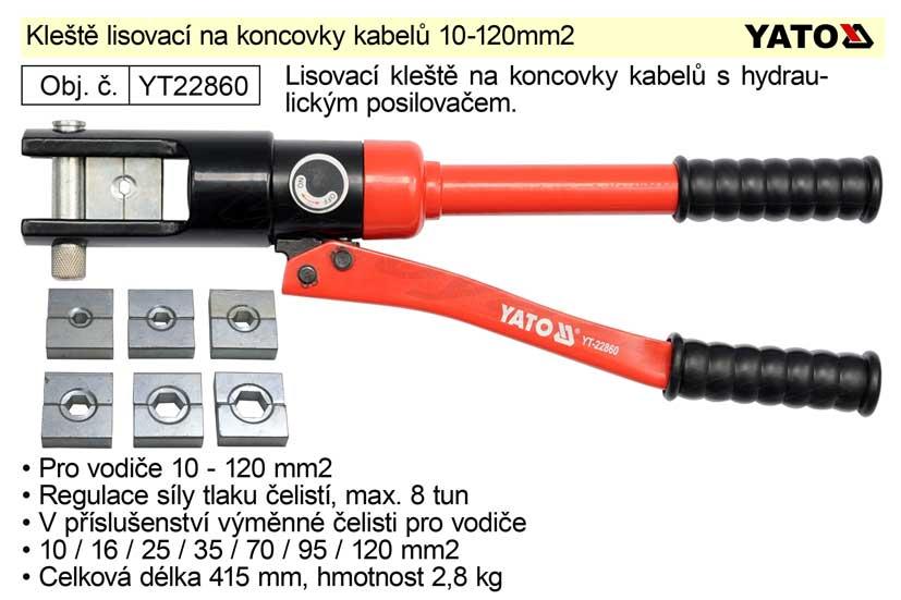 Kleště lisovací na koncovky kabelů 10-120mm2 Nářadí 4.5Kg YT-22860