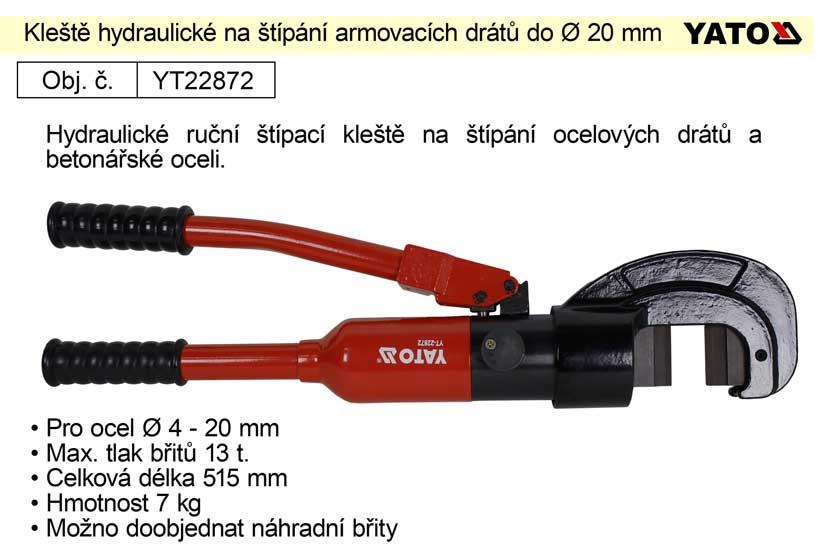 Kleště hydraulické pro štípání armovacích drátů průměru 4 – 20mm, Yato
