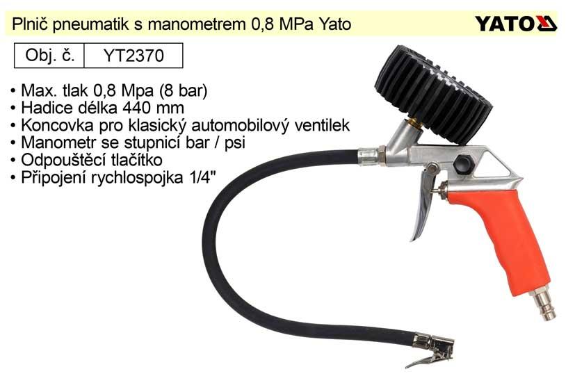 Plnič pneumatik s manometrem 0,8 MPa Yato YT-2370