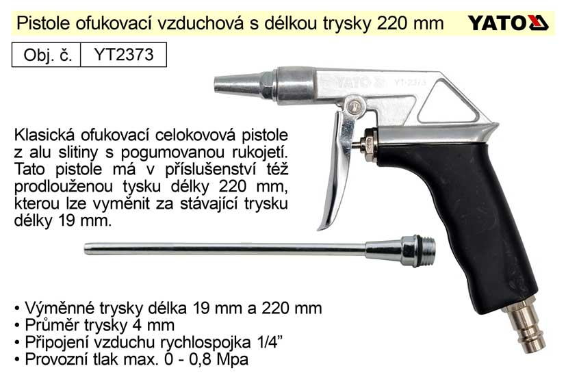 Pistole ofukovací vzduchová, tryska 220mm Yato  YT-2373