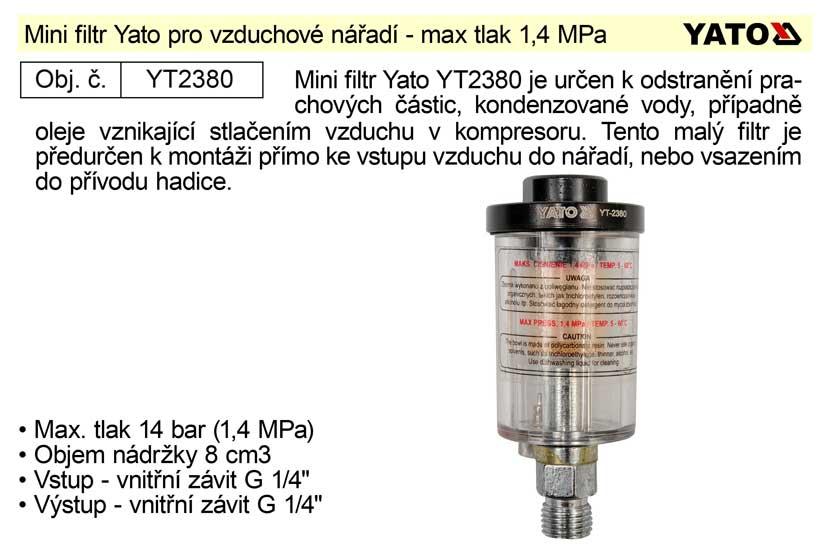 Mini filtr Yato pro vzduchové nářadí Nářadí 0.124Kg YT-2380