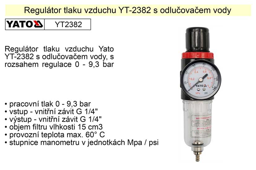 Regulátor tlaku vzduchu s odlučovačem YT-2382 Nářadí 0.31Kg YT-2382