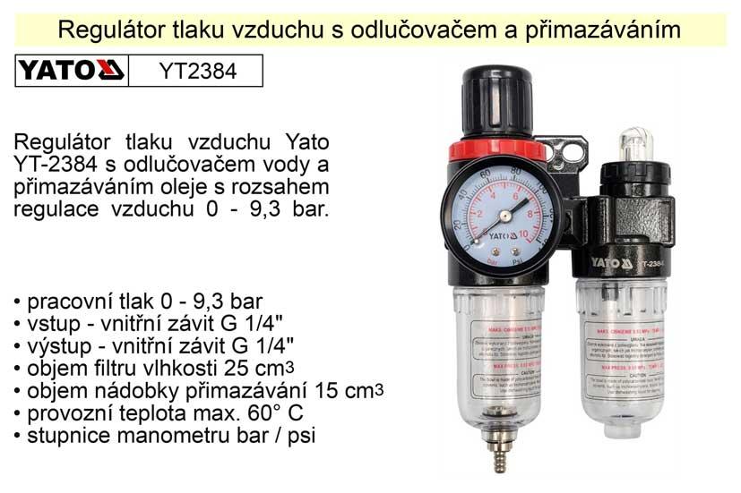 Regulátor tlaku vzduchu s odlučovačem a přimazáváním YT-2384 Nářadí 0.43Kg YT-2384