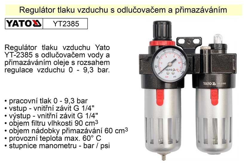 Regulátor tlaku vzduchu s odlučovačem a přimazáváním YT-2385 Nářadí 1.112Kg YT-2385