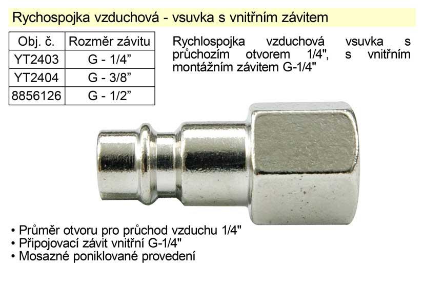"Rychlospojka vzduchová vsuvka s vnitřním závitem G-1/2"" EXTOL PREMIUM"