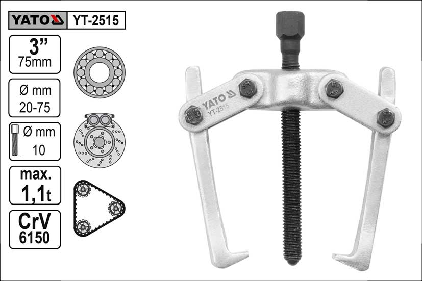 Stahovák  YATO 2-ramenný šíře ramen  75mm délka  75mm