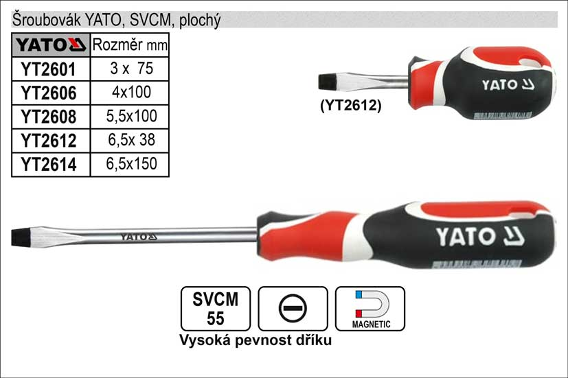 Šroubovák YATO, SVCM, plochý 6,5x150mm