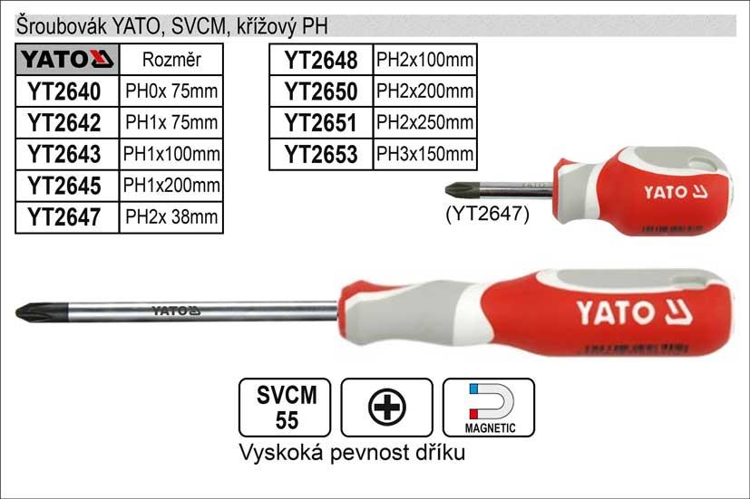 Šroubovák YATO, SVCM, křížový PH0x  75mm