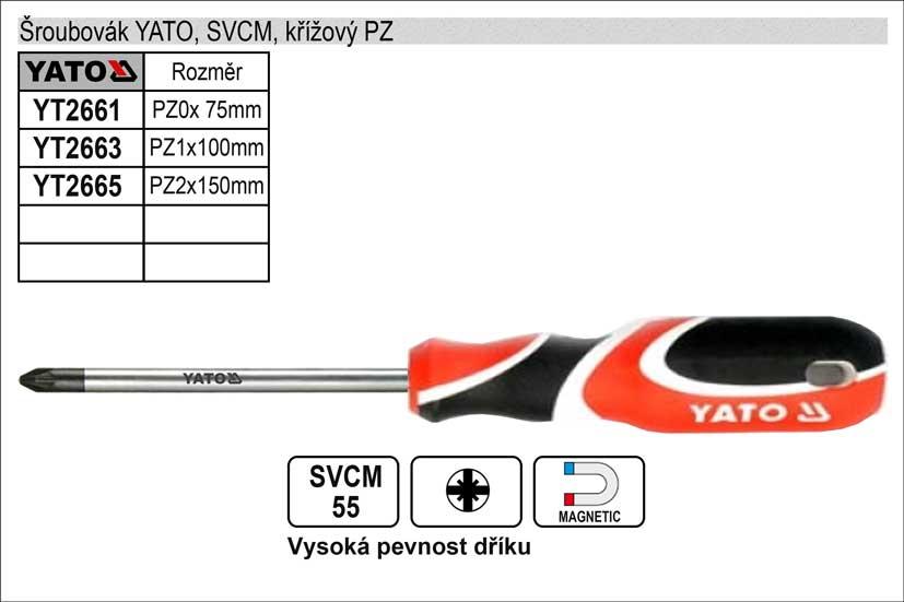 Šroubovák YATO, SVCM, křížový PZ0x 75mm