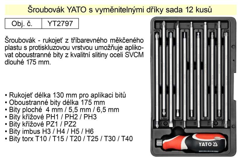 Šroubovák s vyměnitelnými prodlouženými bity Yato sada 12 kusů