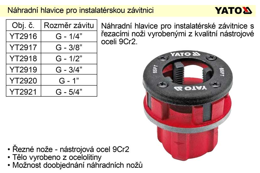 """Náhraddní hlavice 5/4"""" pro instalatérskou závitnici"""
