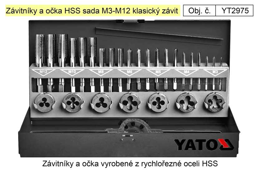 Závitníky a očka HSS sada M3-M12 klasický závit, Yato Nářadí 1.5Kg YT-2975
