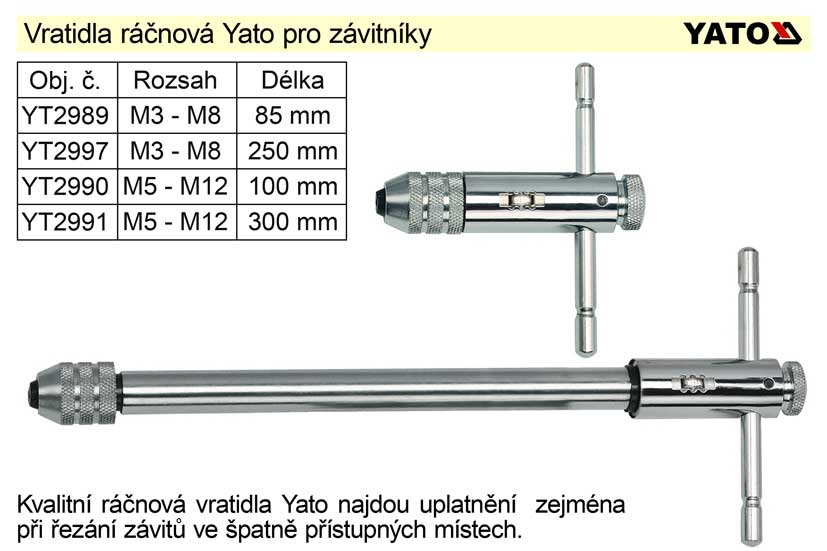 Vratidlo závitové ráčnové Yato délka 300mm pro závitníky M5 - M12 Nářadí 0.475Kg YT-2991
