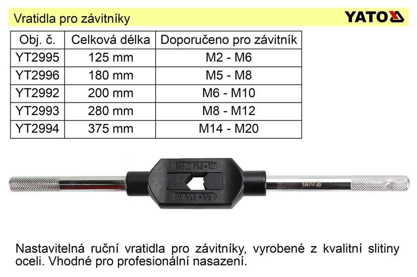 Vratidlo pro závitníky M3-M12  délka 200mm