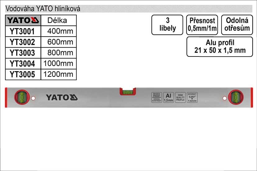 Vodováha  YATO 1200mm 3 libely